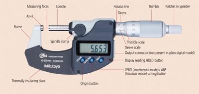 """MITUTOYO 293-348-30 Digital Micrometer,0 to 1/"""",Waterproof"""